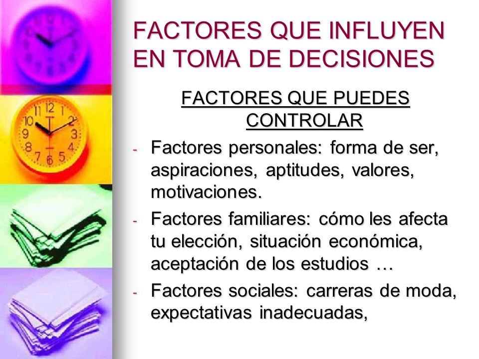 FACTORES QUE INFLUYEN EN TOMA DE DECISIONES FACTORES QUE PUEDES CONTROLAR - Factores personales: forma de ser, aspiraciones, aptitudes, valores, motiv