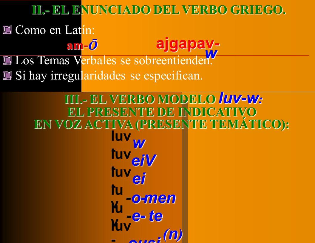 I.- FLEXIÓN VERBAL o CONJUGACIÓN: PRIMERA PARTE: GENERALIDADES. TEMAS VERBALES. La conjugación griega no se organiza en torno a tres conjugaciones (es