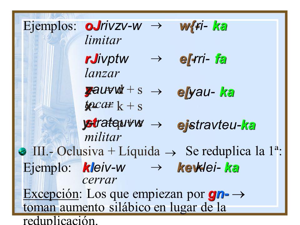 foneuv-w quvw Ejemplos: *fev-fovneu-kapev- matar sacrificar *qev-qu-katev- coreuvw danzar *ce-covreu-kake- II.- Por regla general, los v. que empiezan