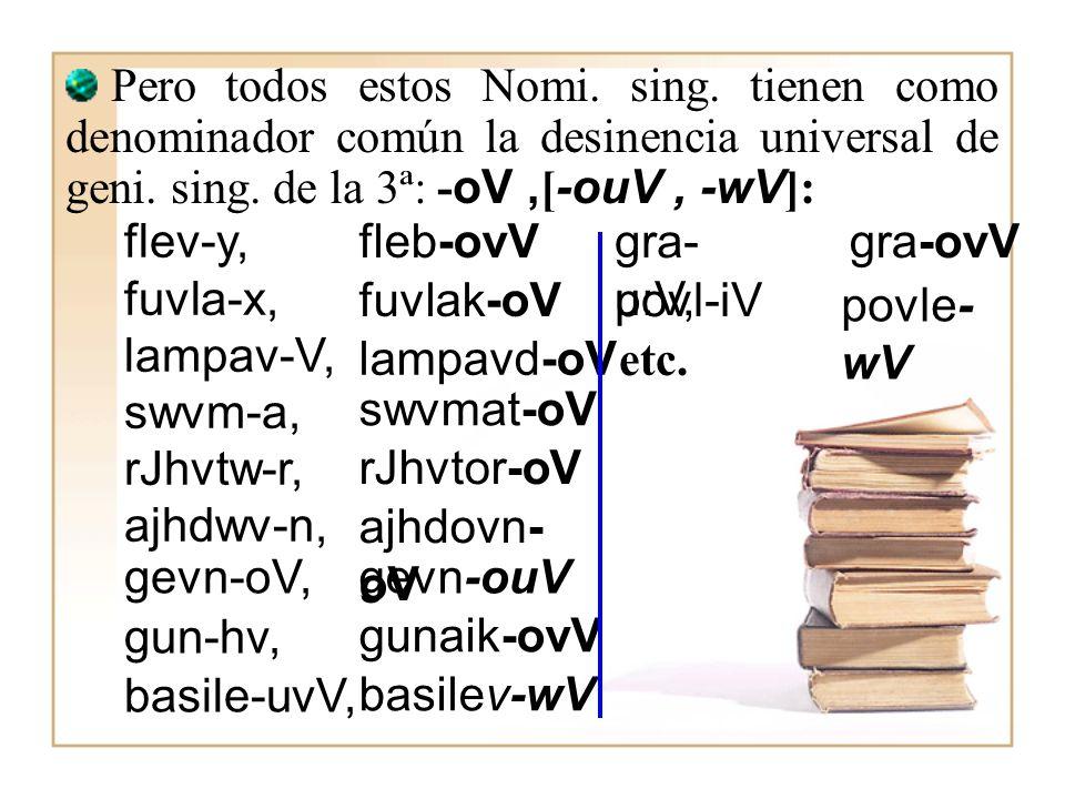 I.- CARACTERÍSTICAS GENERALES: –oV, -ouV, -wV. Pertenecen a esta declinación todos los sustantivos y adjetivos cuyo genitivo singular termine en –oV,