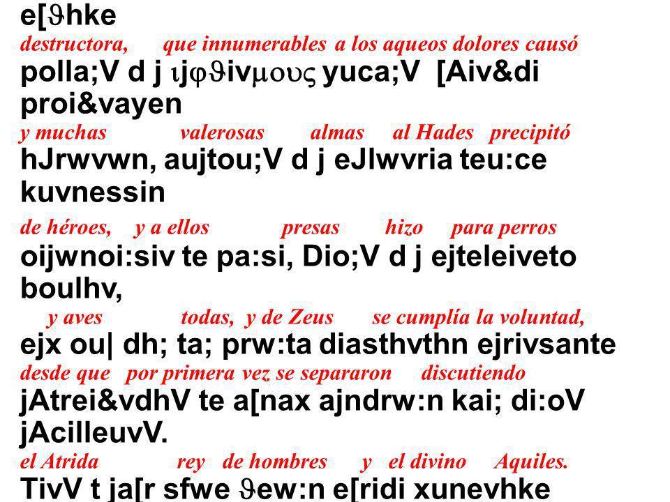 EJERCICIOS (Práctica del Alfabeto Griego) 1.- Escucha ahora en griego clásico los ocho primeros versos de la Ilíada de Homero. Después te aparecerá un
