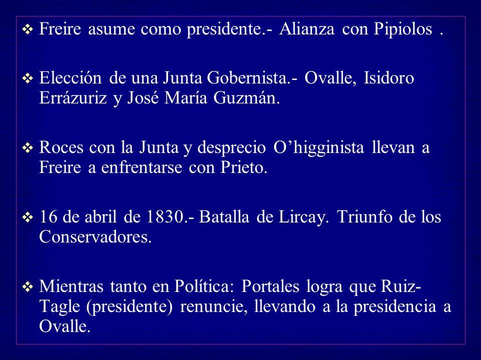 Freire asume como presidente.- Alianza con Pipiolos. Elección de una Junta Gobernista.- Ovalle, Isidoro Errázuriz y José María Guzmán. Roces con la Ju