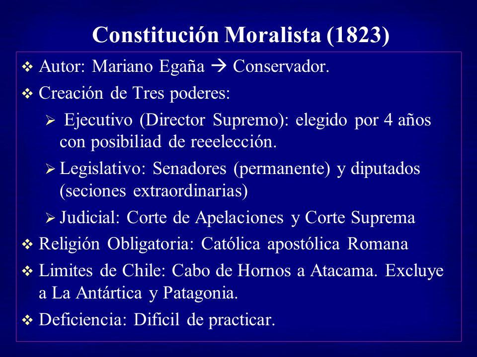 Constitución Moralista (1823) Autor: Mariano Egaña Conservador. Creación de Tres poderes: Ejecutivo (Director Supremo): elegido por 4 años con posibil