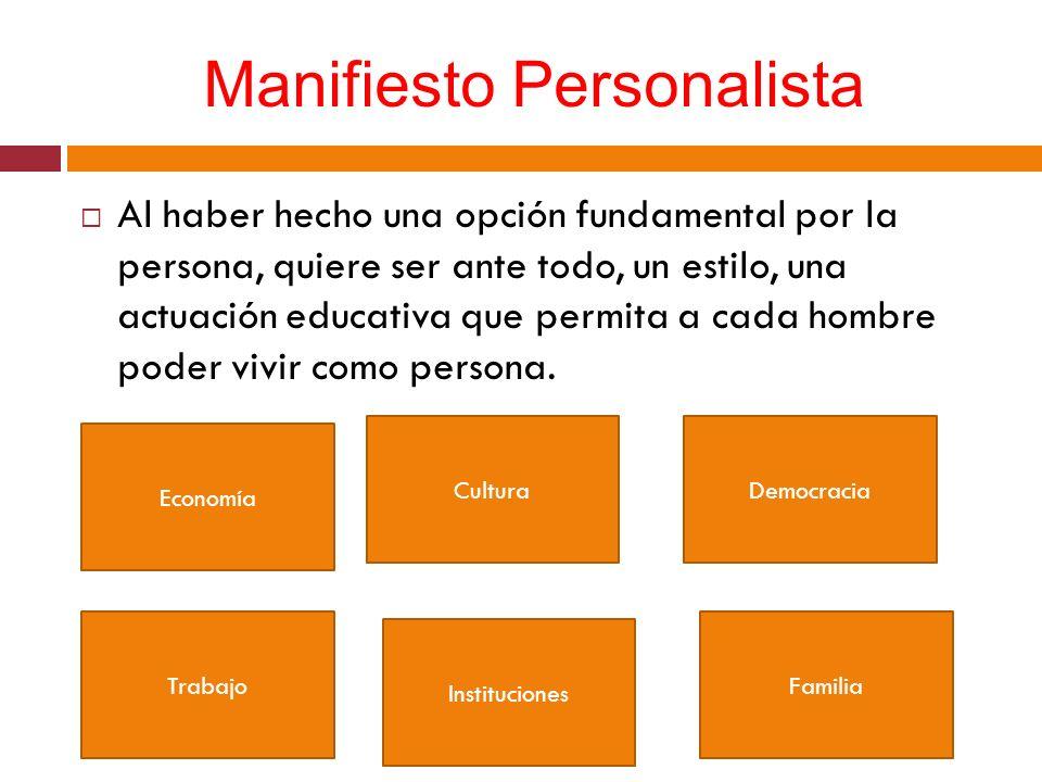 Manifiesto Personalista Al haber hecho una opción fundamental por la persona, quiere ser ante todo, un estilo, una actuación educativa que permita a c