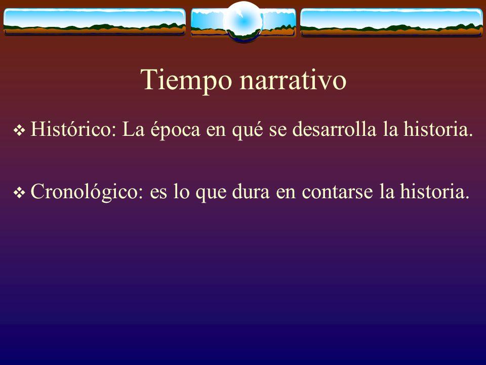 Tiempo narrativo Histórico: La época en qué se desarrolla la historia. Cronológico: es lo que dura en contarse la historia.