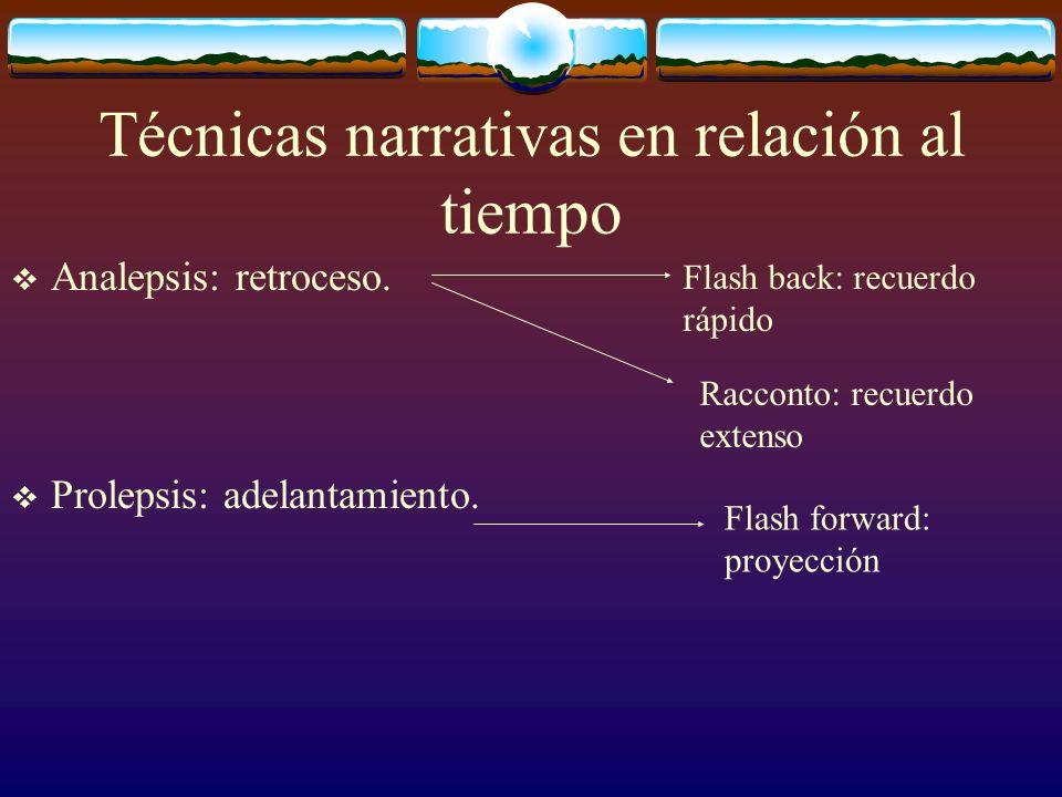 Técnicas narrativas en relación al tiempo Analepsis: retroceso. Prolepsis: adelantamiento. Racconto: recuerdo extenso Flash forward: proyección Flash