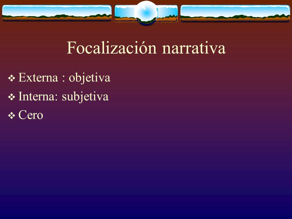 Focalización narrativa Externa : objetiva Interna: subjetiva Cero