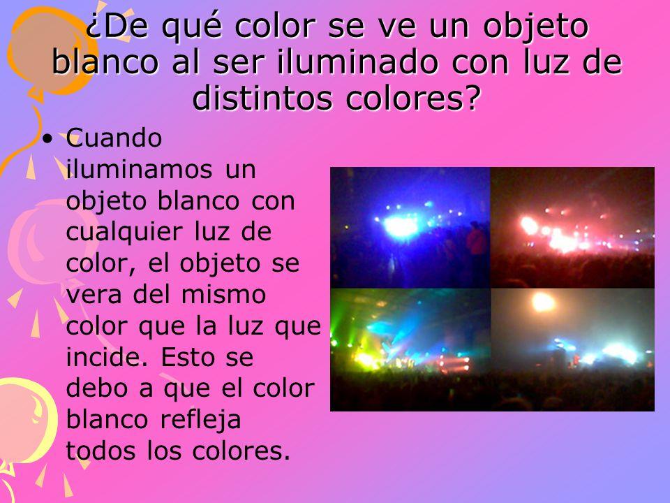 ¿De qué color se ve un objeto blanco al ser iluminado con luz de distintos colores? Cuando iluminamos un objeto blanco con cualquier luz de color, el