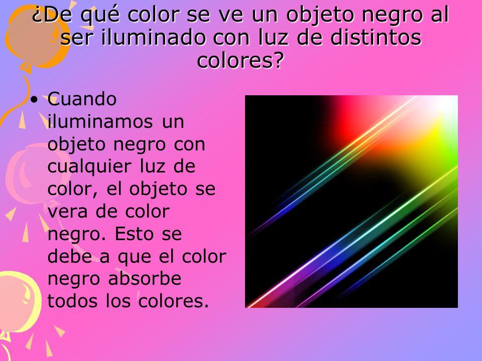 ¿De qué color se ve un objeto negro al ser iluminado con luz de distintos colores? Cuando iluminamos un objeto negro con cualquier luz de color, el ob
