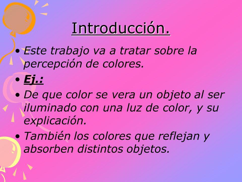 Introducción. Este trabajo va a tratar sobre la percepción de colores. Ej.: De que color se vera un objeto al ser iluminado con una luz de color, y su