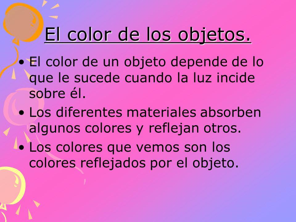 El color de los objetos. El color de un objeto depende de lo que le sucede cuando la luz incide sobre él. Los diferentes materiales absorben algunos c