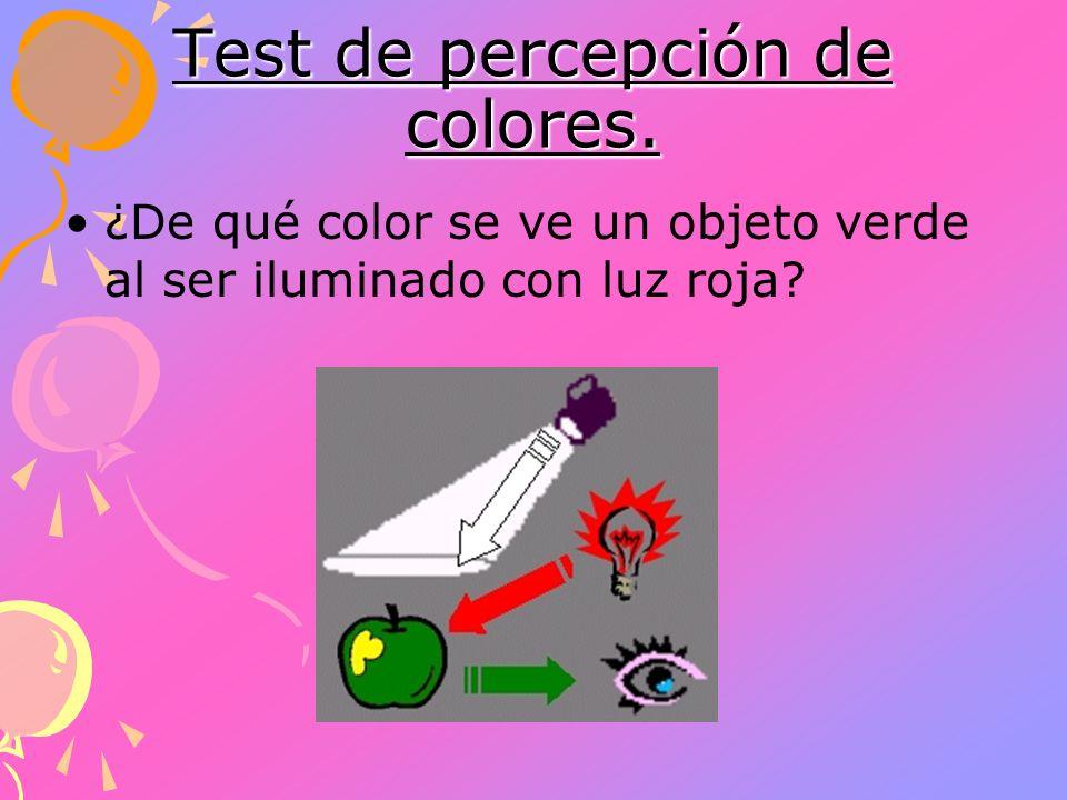 Test de percepción de colores. ¿De qué color se ve un objeto verde al ser iluminado con luz roja?