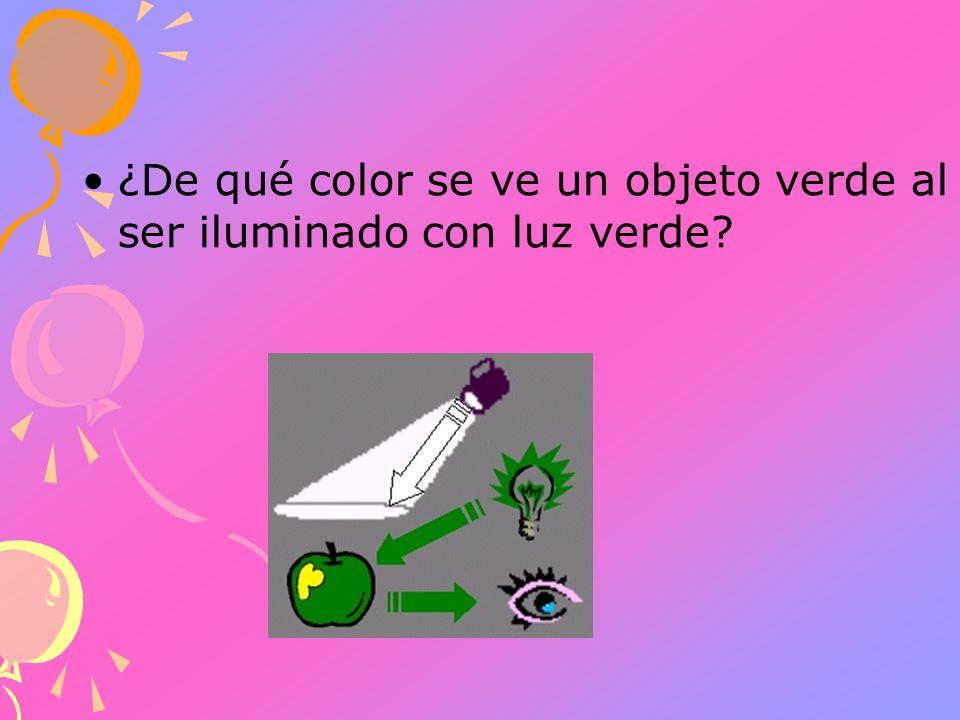 ¿De qué color se ve un objeto verde al ser iluminado con luz verde?