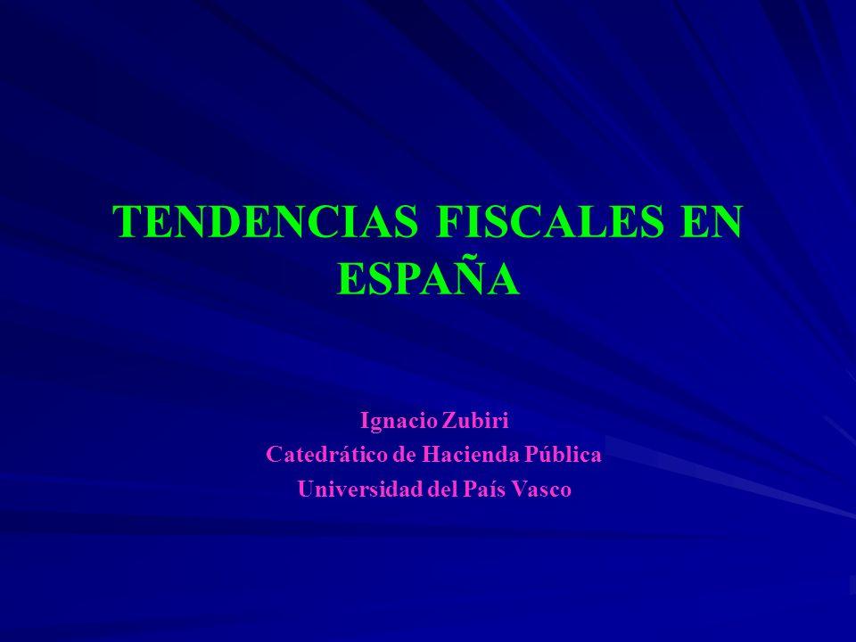 TENDENCIAS FISCALES EN ESPAÑA Ignacio Zubiri Catedrático de Hacienda Pública Universidad del País Vasco