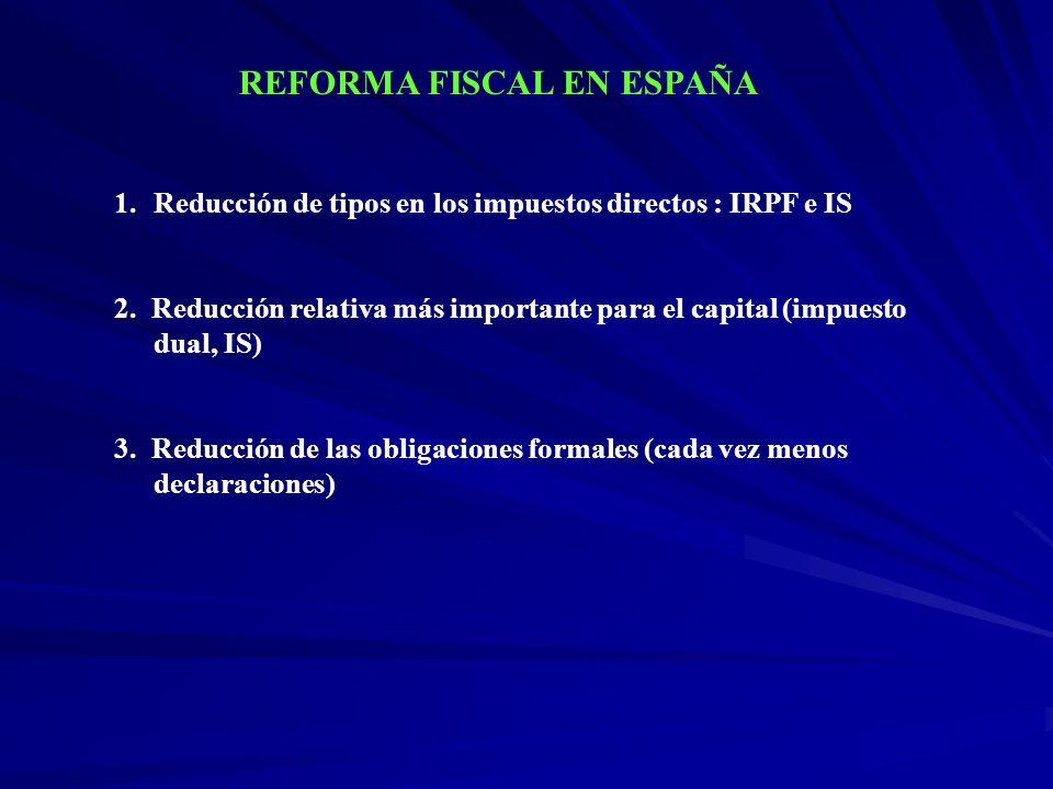 1.Reducción de tipos en los impuestos directos : IRPF e IS 2. Reducción relativa más importante para el capital (impuesto dual, IS) 3. Reducción de la