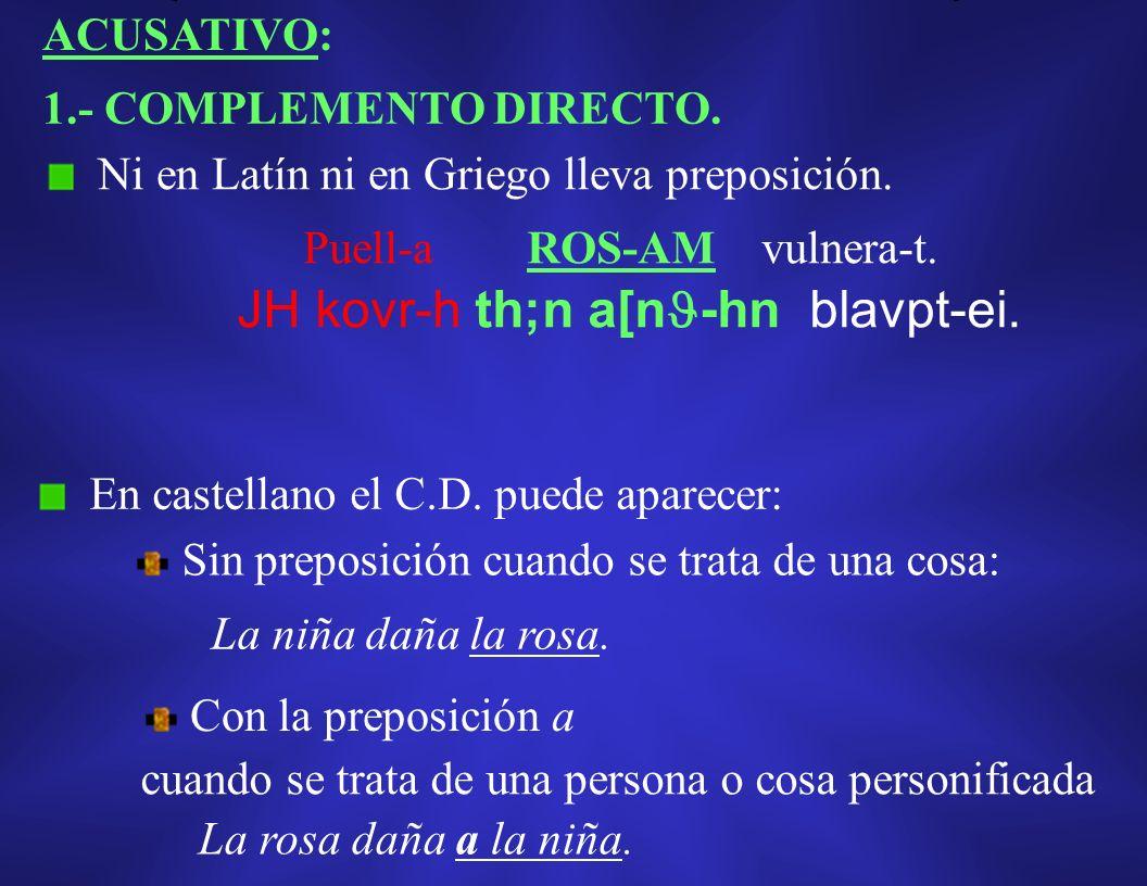 VOCATIVO: Entre comas, no confundir con la aposición explicativa. No representa una función sintáctica. Kovr-h, kuvn-ei me : Morfológicamente no se di