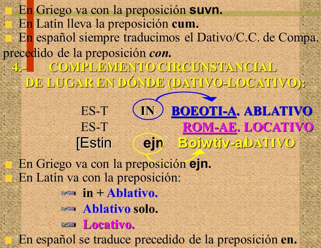 2.- COMPLEMENTO CIRCUNSTANCIAL DE INSTRUMENTO (DATIVO-INSTRUMENTAL): En Latín y en Griego jamás lleva preposición: En castellano lo traduciremos prece