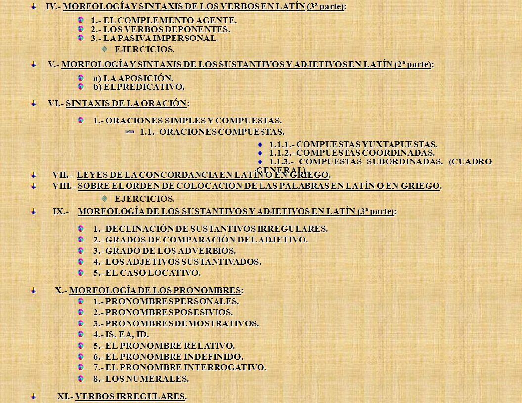 I.- El Artículo Griego. II.- La Primera Declinación o Temas en –a / h. III.- Nombres Propios sin Singular. IV.- Orden de colocación de las palabras en
