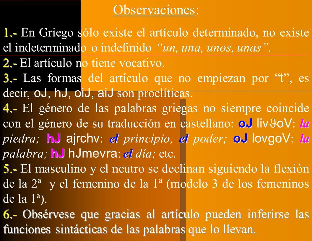 I.- EL ARTÍCULO GRIEGO. ORIGEN: Antiguo Demostrativo (= español) > acompañantes del sustantivo (indicar género y número). FUNCIÓN: Presentador o acomp