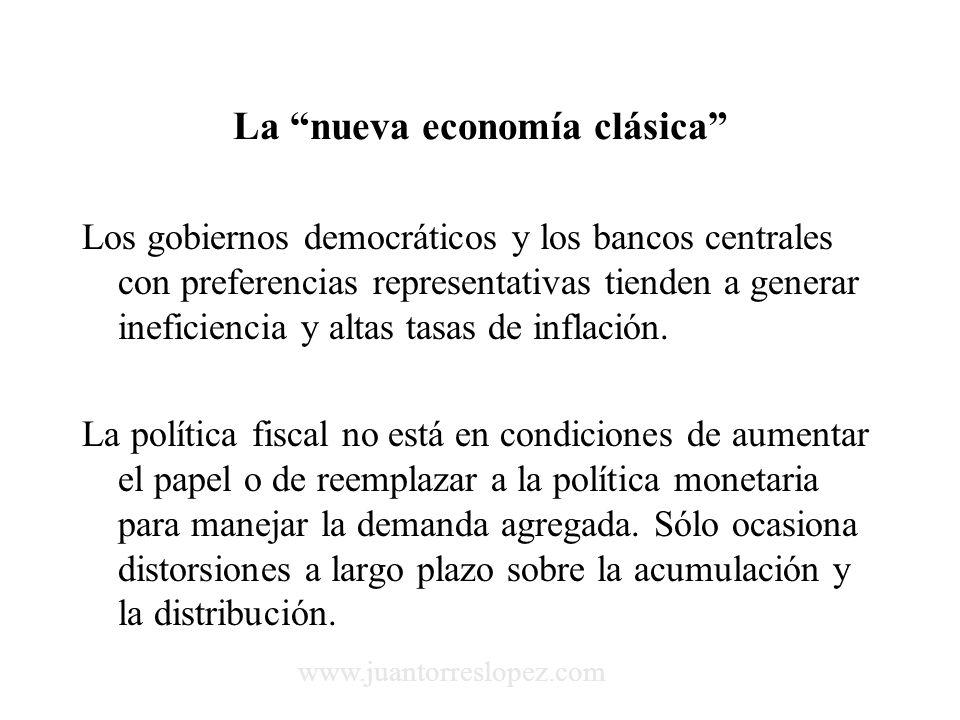 La nueva economía clásica Los gobiernos democráticos y los bancos centrales con preferencias representativas tienden a generar ineficiencia y altas tasas de inflación.