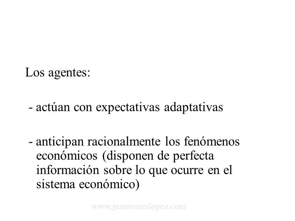 Los agentes: - actúan con expectativas adaptativas - anticipan racionalmente los fenómenos económicos (disponen de perfecta información sobre lo que ocurre en el sistema económico) www.juantorreslopez.com