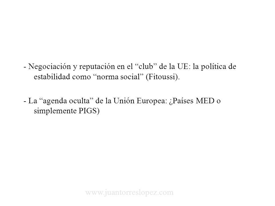 - Negociación y reputación en el club de la UE: la política de estabilidad como norma social (Fitoussi).