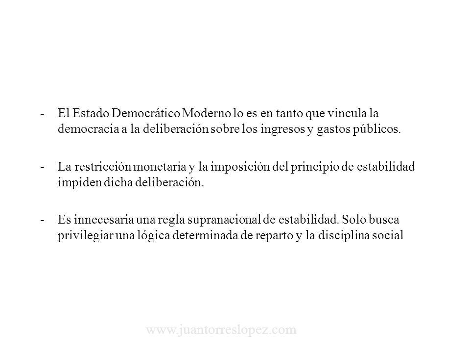 -El Estado Democrático Moderno lo es en tanto que vincula la democracia a la deliberación sobre los ingresos y gastos públicos.