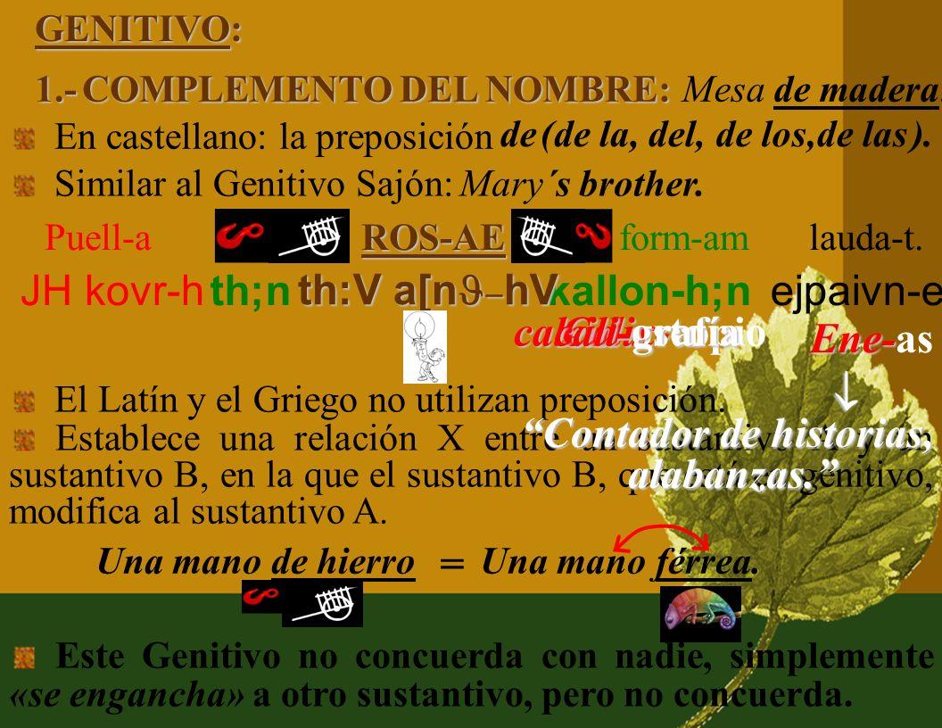 2.- COMPLEMENTO CIRCUNSTANCIAL DE DIRECCIÓN: En castellano y en Griego siempre con preposición. E-o in (ad) ARCADI-AM. En Latín casi siempre: El Acusa