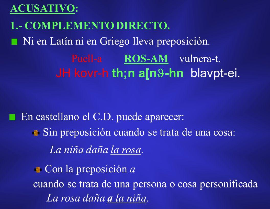 ACUSATIVO: 1.- COMPLEMENTO DIRECTO.Ni en Latín ni en Griego lleva preposición.