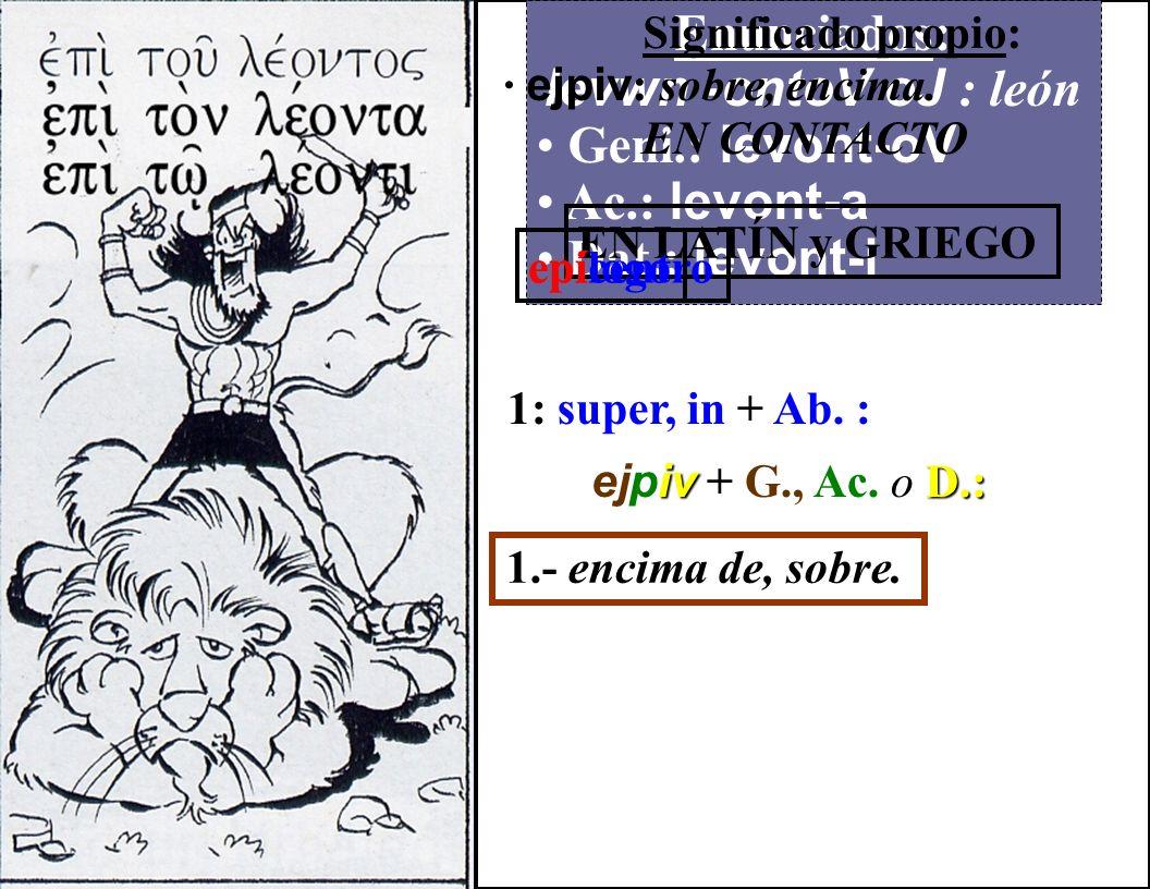 Enunciados: levwn -ontoV oJ : león Geni.: levont-oV Ac.: levont-a Dat.: levont-i Significado propio: · uJpevr : sobre, encima de. SIN CONTACTO EN LATÍ