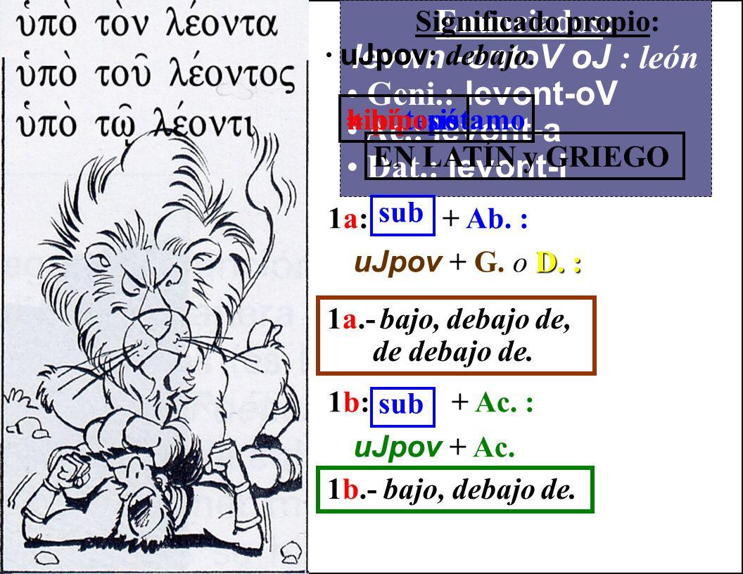 Enunciados: levwn -ontoV oJ : león Geni.: levont-oV Ac.: levont-a Dat.: levont-i Significado propio: · katav : de arriba abajo. catarro 1a: + Ab. : ka