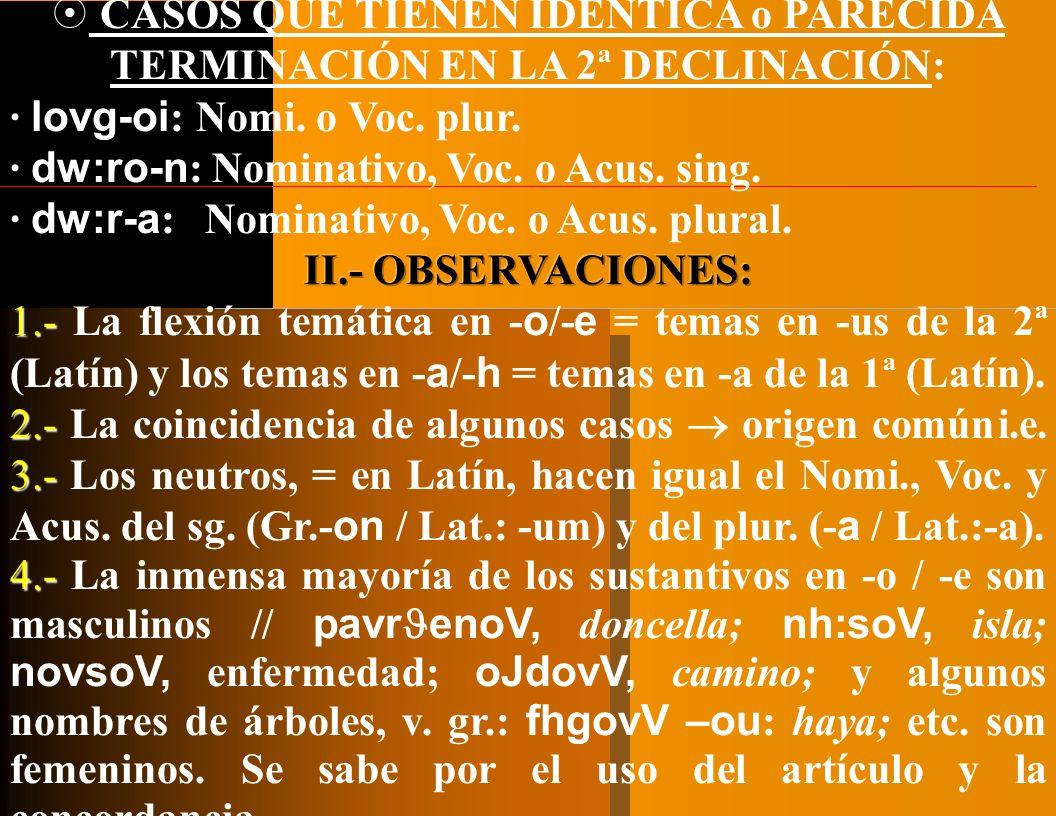 C.I. C.C. Comp., Ins., lu. en d. o CASO N. Sujeto -a-a-a-a Atributo * dw:r - o RAÍZ +V.T. Desinencias [cf.*templ- ] ] a a TERMINACIONES Tr.: V. Vocati