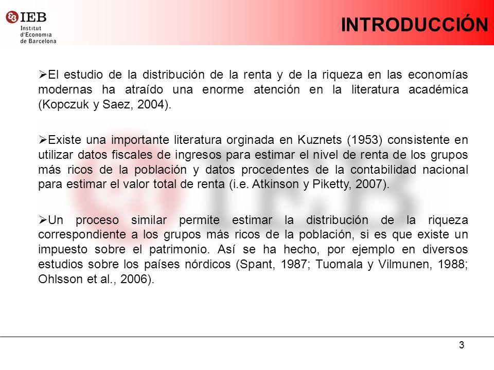 3 INTRODUCCIÓN El estudio de la distribución de la renta y de la riqueza en las economías modernas ha atraído una enorme atención en la literatura académica (Kopczuk y Saez, 2004).