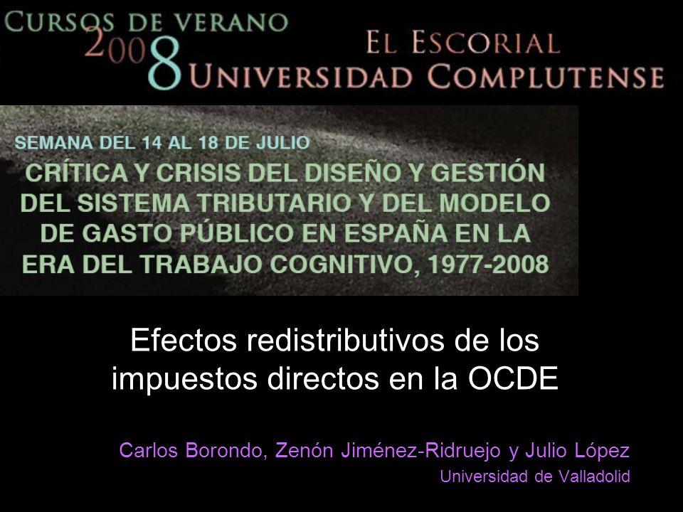 Efectos redistributivos de los impuestos directos en la OCDE Carlos Borondo, Zenón Jiménez-Ridruejo y Julio López Universidad de Valladolid