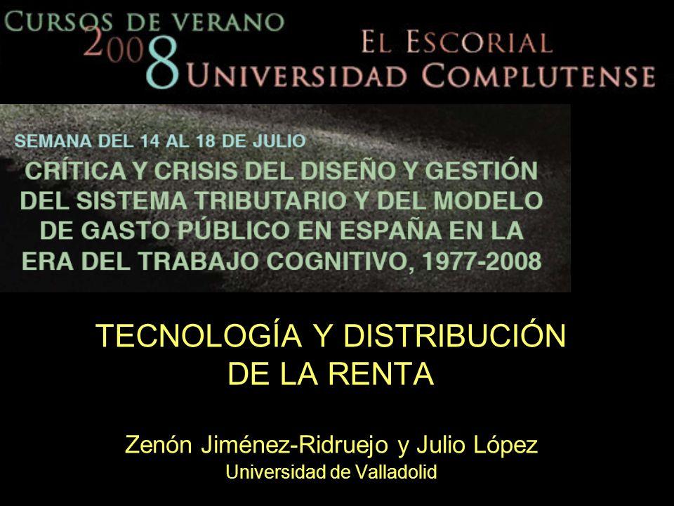 TECNOLOGÍA Y DISTRIBUCIÓN DE LA RENTA Zenón Jiménez-Ridruejo y Julio López Universidad de Valladolid