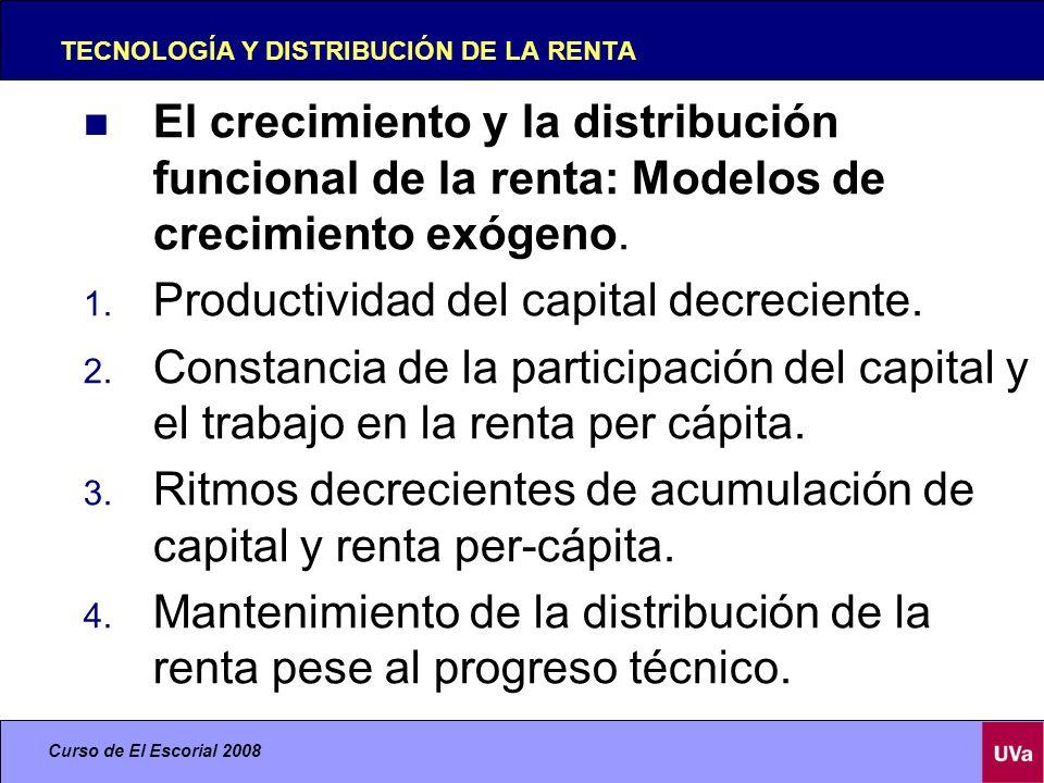 Curso de El Escorial 2008 TECNOLOGÍA Y DISTRIBUCIÓN DE LA RENTA El crecimiento y la distribución funcional de la renta: Modelos de crecimiento exógeno.