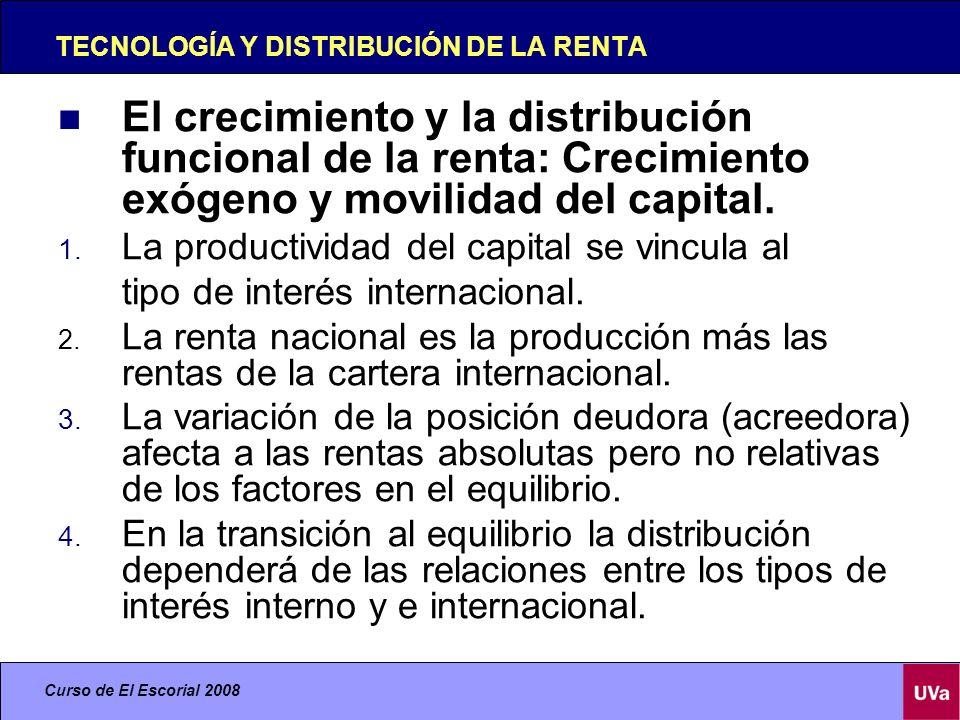 Curso de El Escorial 2008 TECNOLOGÍA Y DISTRIBUCIÓN DE LA RENTA El crecimiento y la distribución funcional de la renta: Crecimiento endógeno.