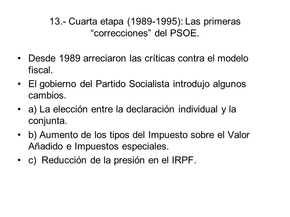13.- Cuarta etapa (1989-1995): Las primeras correcciones del PSOE. Desde 1989 arreciaron las críticas contra el modelo fiscal. El gobierno del Partido