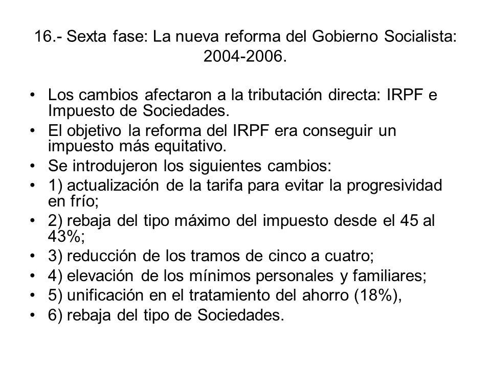 16.- Sexta fase: La nueva reforma del Gobierno Socialista: 2004-2006. Los cambios afectaron a la tributación directa: IRPF e Impuesto de Sociedades. E