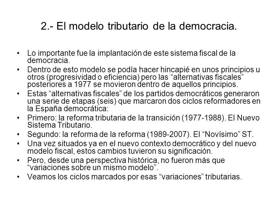 2.- El modelo tributario de la democracia. Lo importante fue la implantación de este sistema fiscal de la democracia. Dentro de esto modelo se podía h