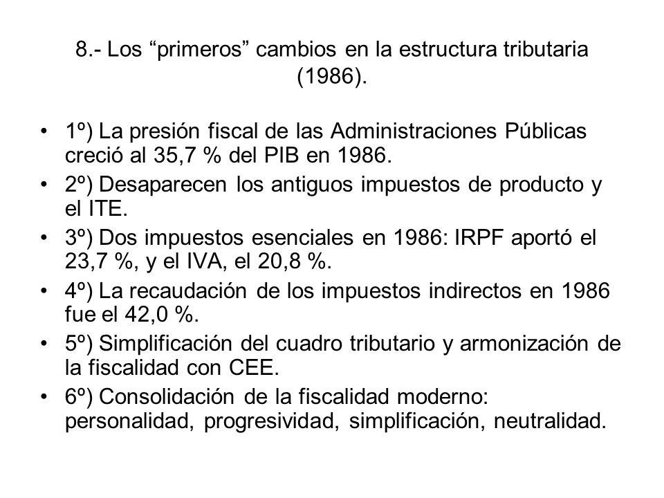 8.- Los primeros cambios en la estructura tributaria (1986). 1º) La presión fiscal de las Administraciones Públicas creció al 35,7 % del PIB en 1986.