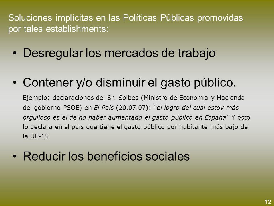 Soluciones implícitas en las Políticas Públicas promovidas por tales establishments: Desregular los mercados de trabajo Contener y/o disminuir el gast