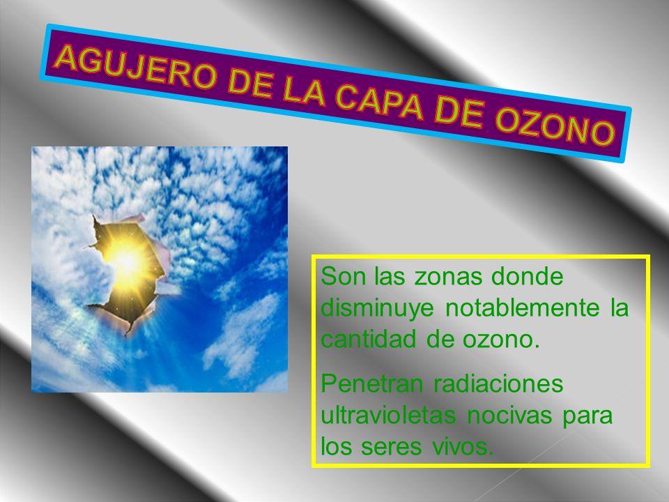 Son las zonas donde disminuye notablemente la cantidad de ozono. Penetran radiaciones ultravioletas nocivas para los seres vivos.
