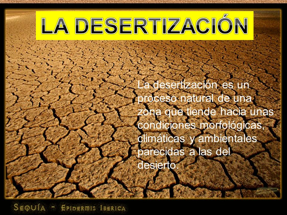 La desertización es un proceso natural de una zona que tiende hacia unas condiciones morfológicas, climáticas y ambientales parecidas a las del desier