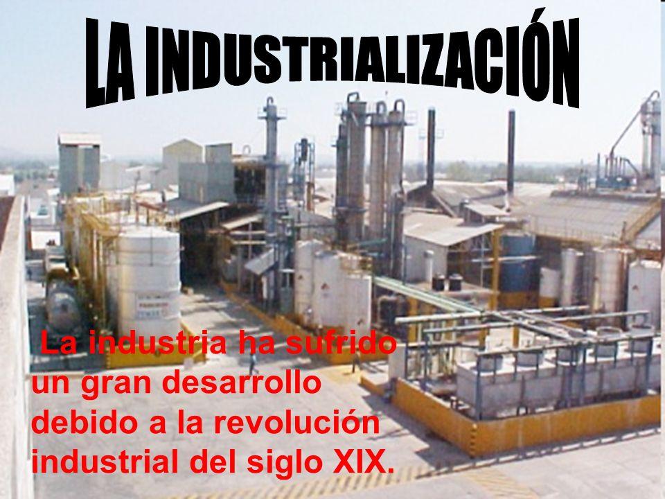 La industria ha sufrido un gran desarrollo debido a la revolución industrial del siglo XIX.