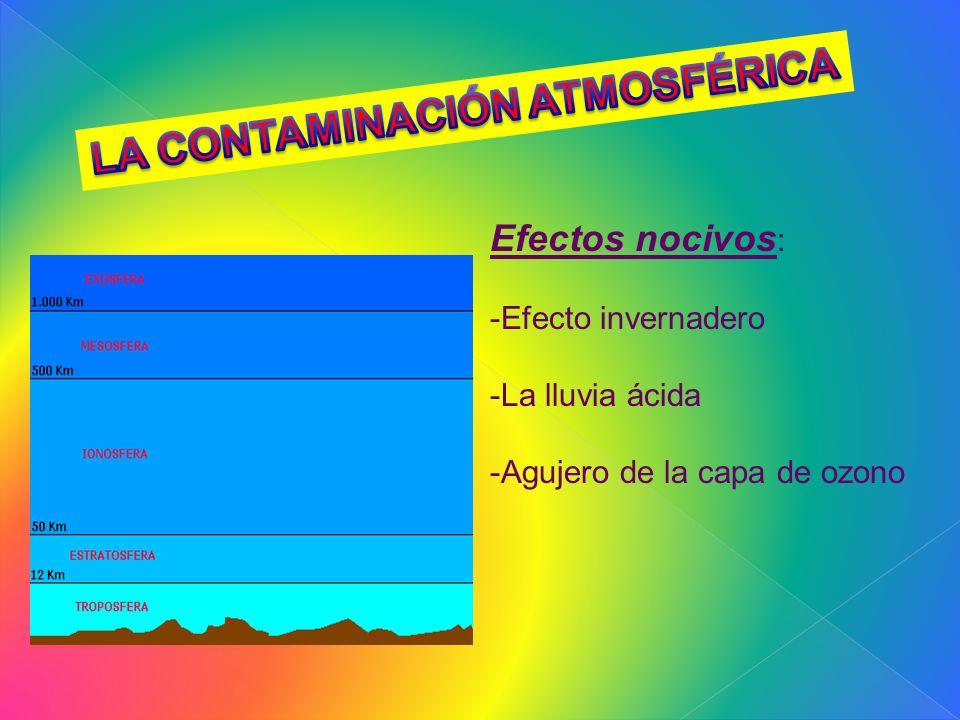 Efectos nocivos : -Efecto invernadero -La lluvia ácida -Agujero de la capa de ozono