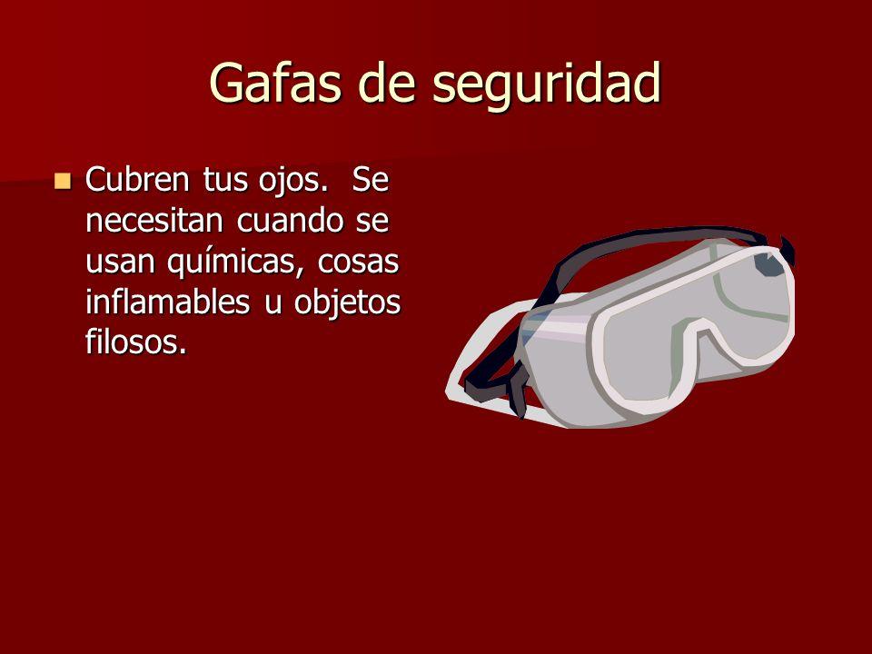Gafas de seguridad Cubren tus ojos. Se necesitan cuando se usan químicas, cosas inflamables u objetos filosos. Cubren tus ojos. Se necesitan cuando se