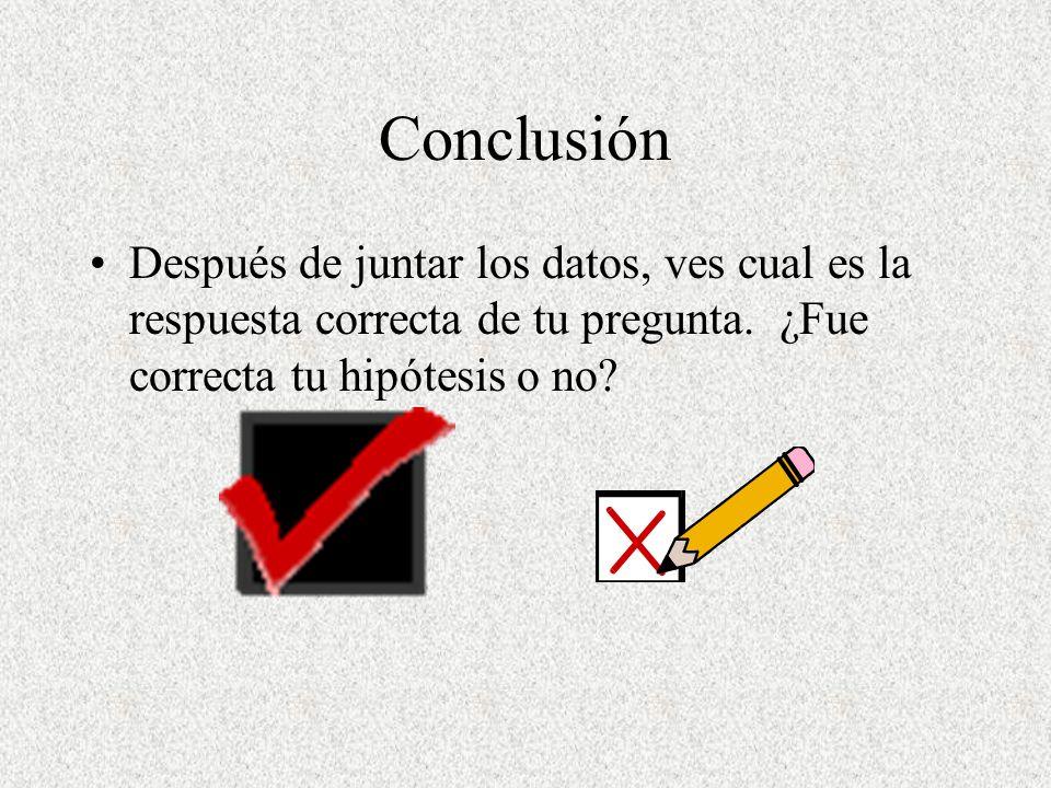Conclusión Después de juntar los datos, ves cual es la respuesta correcta de tu pregunta. ¿Fue correcta tu hipótesis o no?
