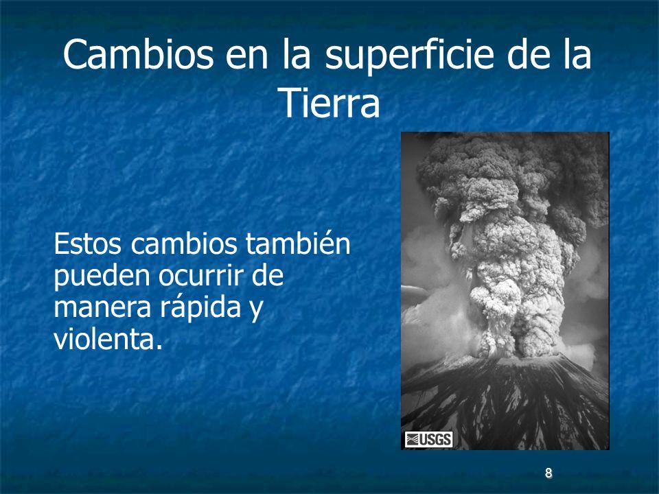 Los cambios en la Tierra se pueden ver diferentes Cambio causado por lava Cambio causado por lava con vapor, carbonilla, piedra pómez y ceniza Cambio causado por explosiones de carbonilla, piedra pómez y ceniza