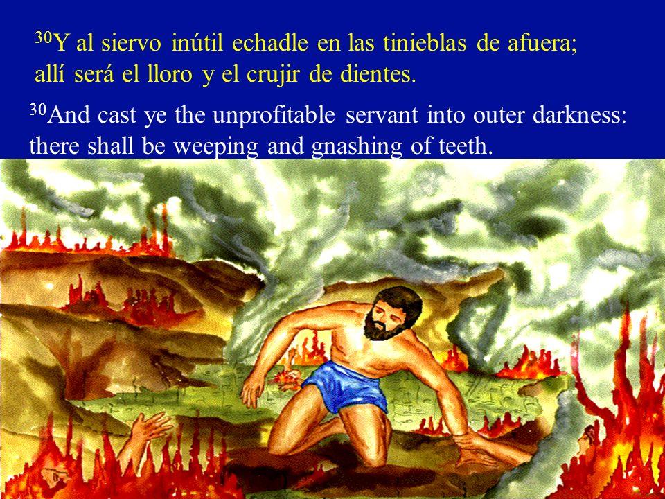 30 Y al siervo inútil echadle en las tinieblas de afuera; allí será el lloro y el crujir de dientes. 30 And cast ye the unprofitable servant into oute